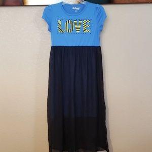 Blue & Black Maxi Girls Dress
